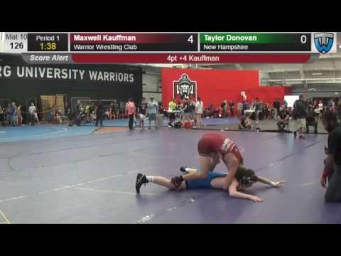 250 Junior Men 126 Maxwell Kauffman Warrior Wrestling Club vs Taylor Donovan New Hampshire 414207910