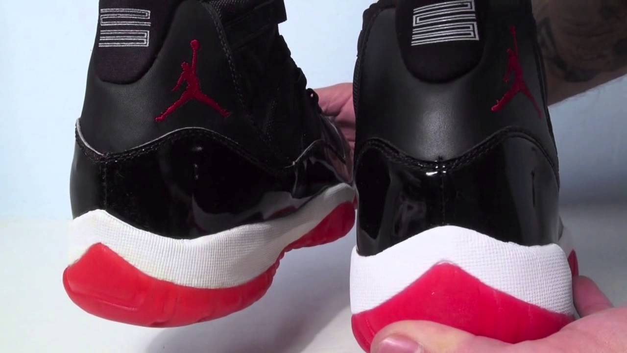 c0a27c787b1b95 Comparison  1995 Original vs. 2012 Retro Air Jordan 11 (XI) Bred (Black Red)  - YouTube
