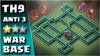 Best TH 9 Anti 3 Star War Base 2017 (Anti All Combo) | Clash of Clans | 9 Attack Defense Replay #4