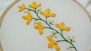 Flower twig,hand embroidery,easy and beautiful for beginners