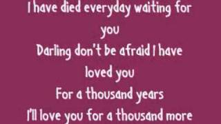 Christina Perri - A Thousand Years (Lyrics On Screen)