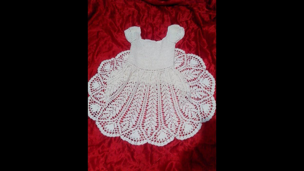 Extremamente Vestido infantil em crochê branco - YouTube TV74