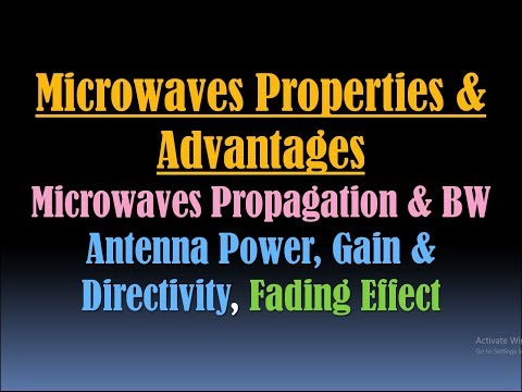 Microwaves Properties And Microwave Benefits (Advantages)/Microwaves Propagation/Antenna Power, Gain