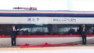 GLOBALink | Bullet train for China-Laos railway arrives in Vientiane