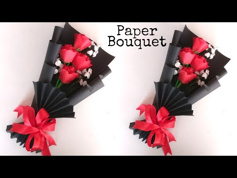 Flower Bouquet Making With Paper   Flower Bouquet Wrapping   DIY   Paper Craft