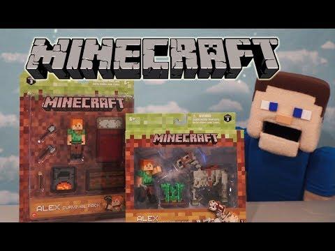 Minecraft Series 3 Survival Pack & Alex Skeleton Horse Playset Jazwares Action Figures Unboxing