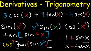 Download Video Derivatives of Trigonometric Functions - Product Rule Quotient & Chain Rule - Calculus Tutorial MP3 3GP MP4