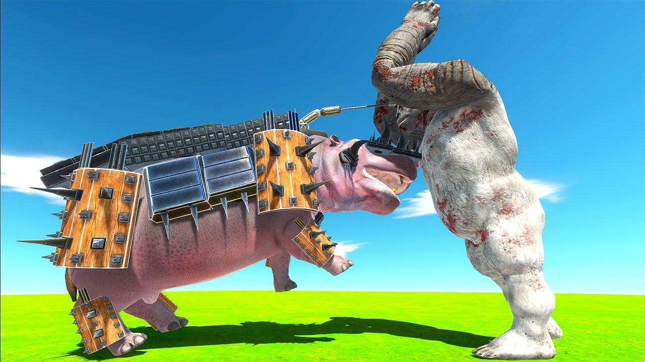 Armoured HIPPO Fights KING KONG - Animal Revolt Battle Simulator