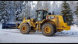 Cat 972m xe Wheel Loaders plowing snow 4Meter Drivex 4k