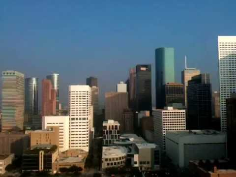 Houston skyline from downtown Hilton swimming pool