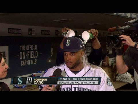MIN@SEA: Cano discusses win, gets drenched