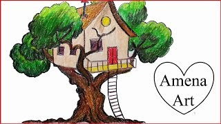 how to draw a beautiful tree house for kids step by step with pencil