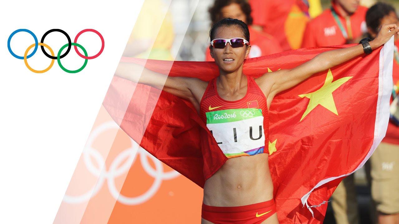 China's Liu wins gold in the Women's 20km Race Walk - YouTube