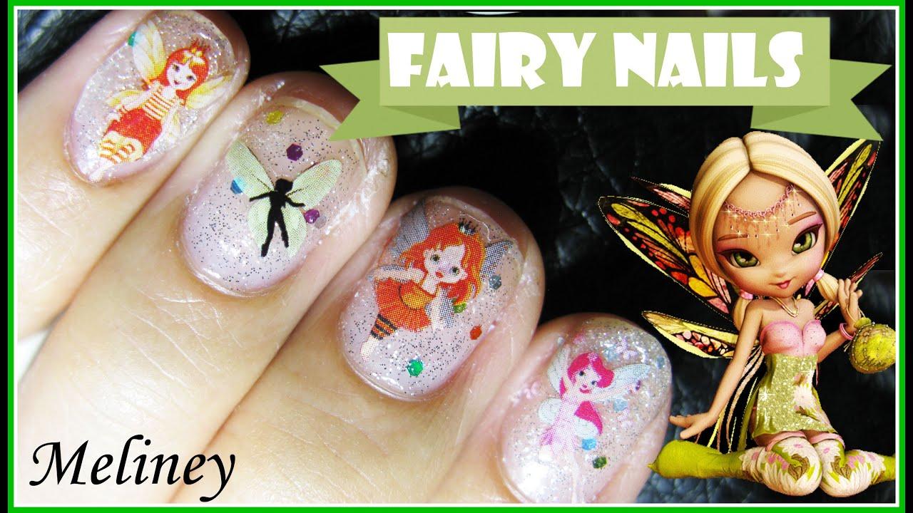 Easy Fairy Sticker Nail Art Design For Short Nails Tutorial