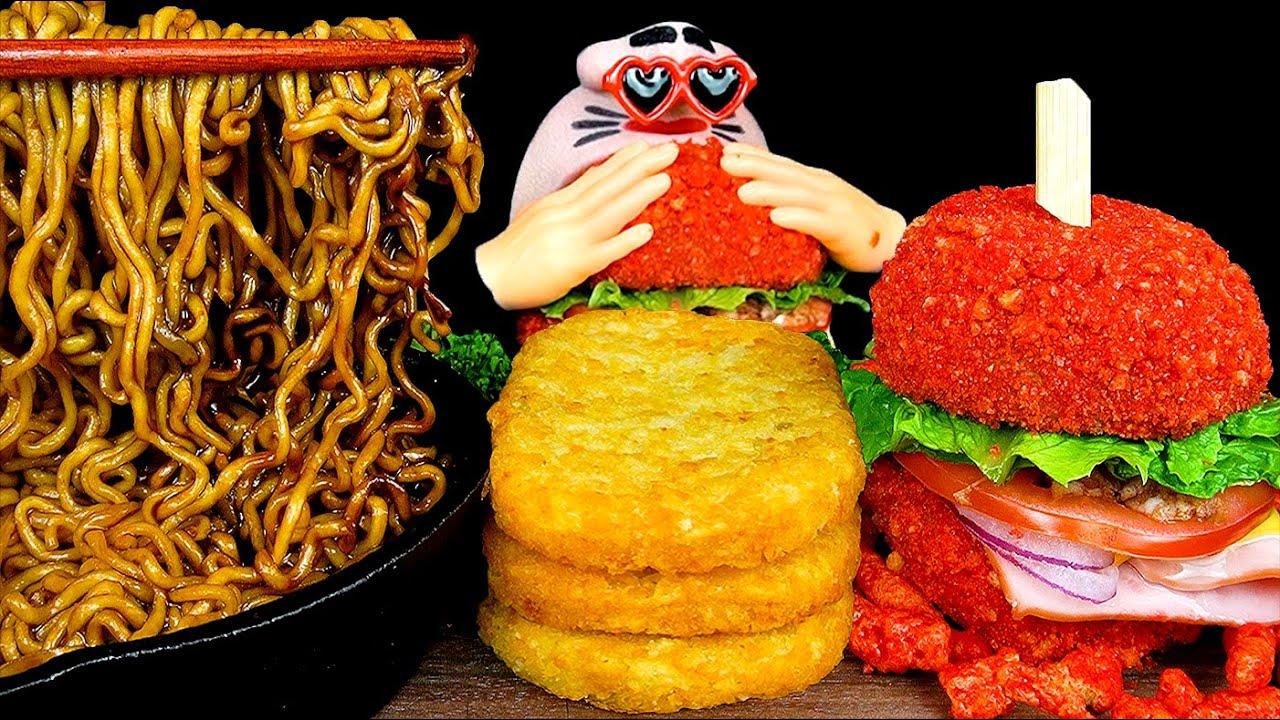 ASMR MUKBANG :) Cheetos Burger & Black Bean Noodles & Hash Brown EATING SHOW