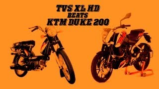 TVS XL HD beats KTM DUKE 200 (Shocking footage)