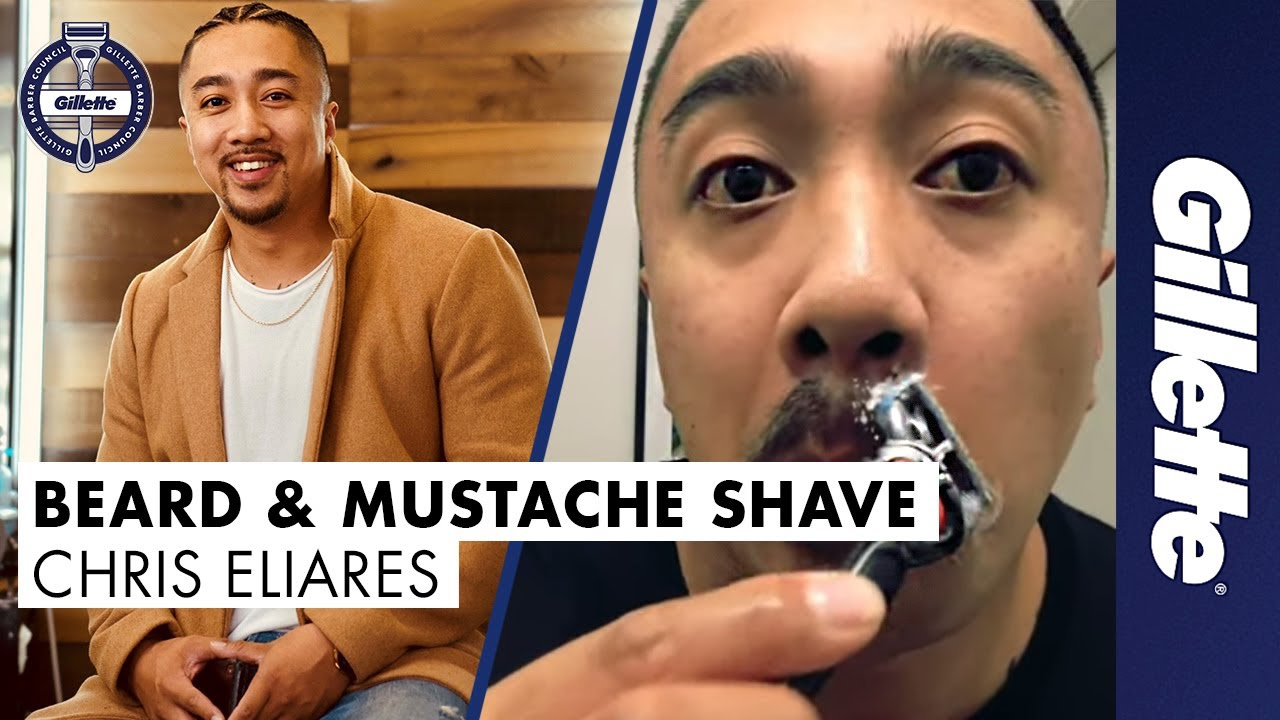 At Home Beard Shave & Mustache Shaping with Chris Eliares | Gillette Barber Council