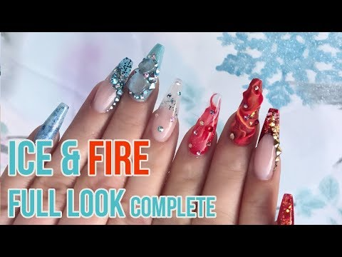 Ice & Fire Completed Full Look - How to Make Ice Cubes in Acrylic - Chrome Glass French Tip