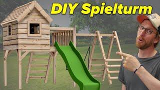 Spielturm mit Rutsche selber bauen   Der hält alles aus!
