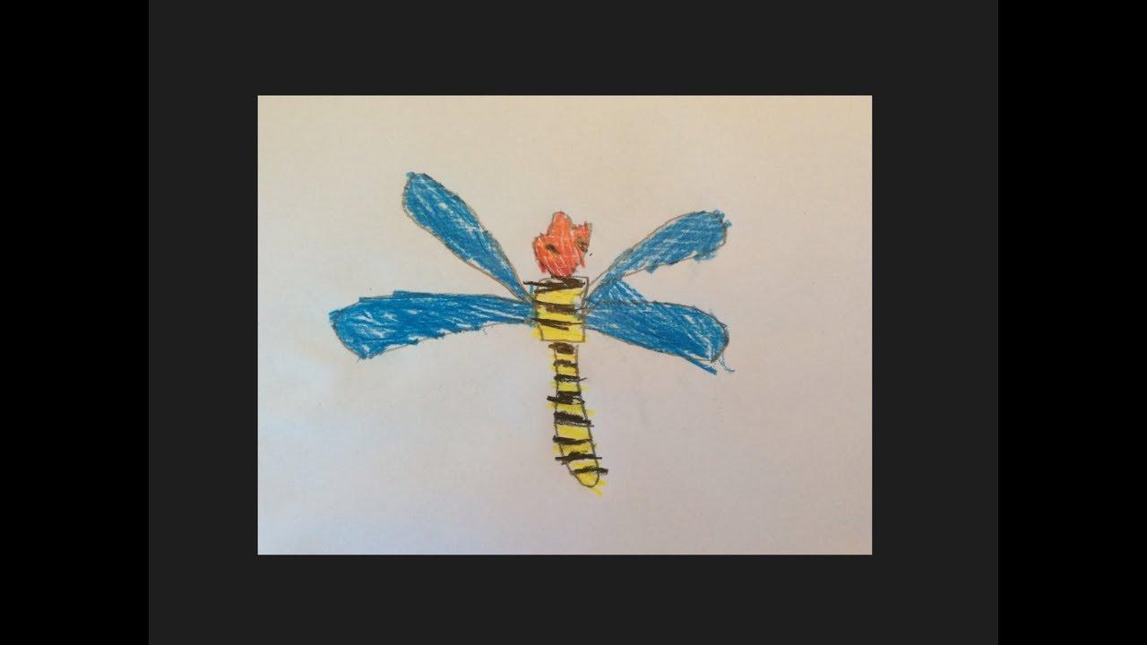 Wie man eine Libelle malt - Malvorlage für Kindergarten Kinder - Der ...