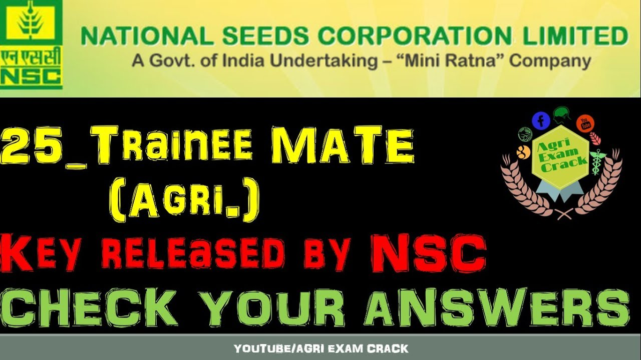 Trainee MATE (Agri ) key 2019 released by NSC