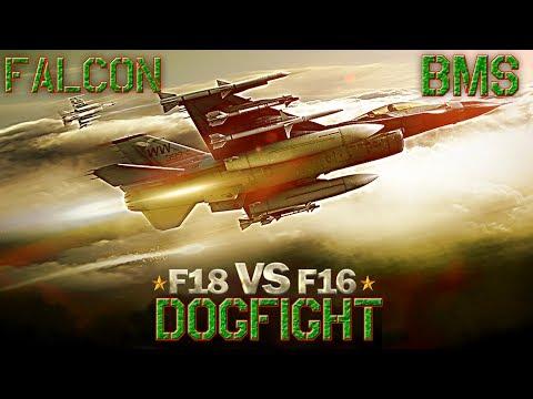 Falcon BMS - Dogfight 2 Vs 2 - F16 Vs F18 - Con ACMI TacView