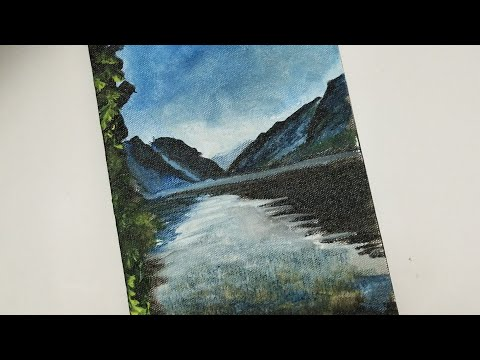Mission  365 , Day 7,  Mountain View Painting, Easy Acrylic Painting, Sheena's Gallery