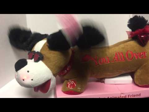 Animated Musical Valentines Dog Plays Kiss You All Over Plush