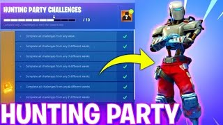 UNLOCKING NEW Fortnite HUNTING PARTY SKIN !- WEEK 7 CHALLENGES FREE REWARD A.I.M SKIN