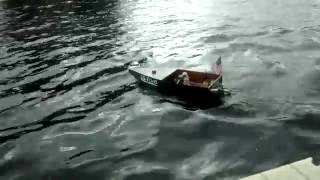 RC boat hitting big waves