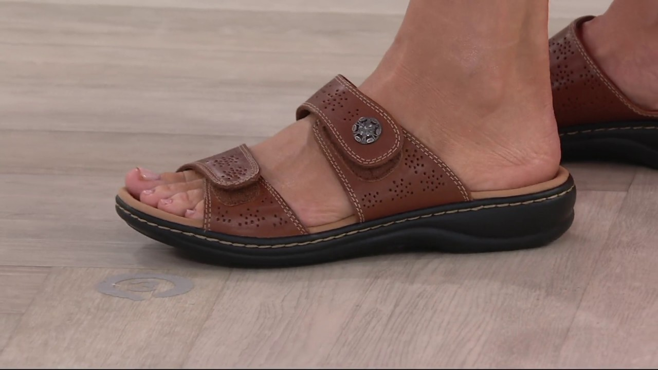 364a530192e Clarks Leather Double Adjust Slide Sandals - Leisa Lacole on QVC ...