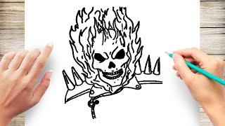 How to Draw Ghost Rider Step by Step for Beginner