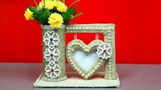 Jute craft ideas   Jute photo frame showpiece with jute   Home decorating ideas handmade