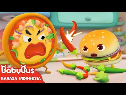 Lagu Video Geng Pizza Vs Geng Hamburger | Lagu Makanan | Lagu Anak-anak | Bahasa Indonesia | Babybus Terbaru