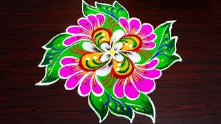 Simple flower rangoli with 8x2 dots creative kolam designs innovative muggulu patterns