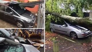 hurricane Ophelia across Ireland, winds , floods, surge waves, damage, uprooted trees