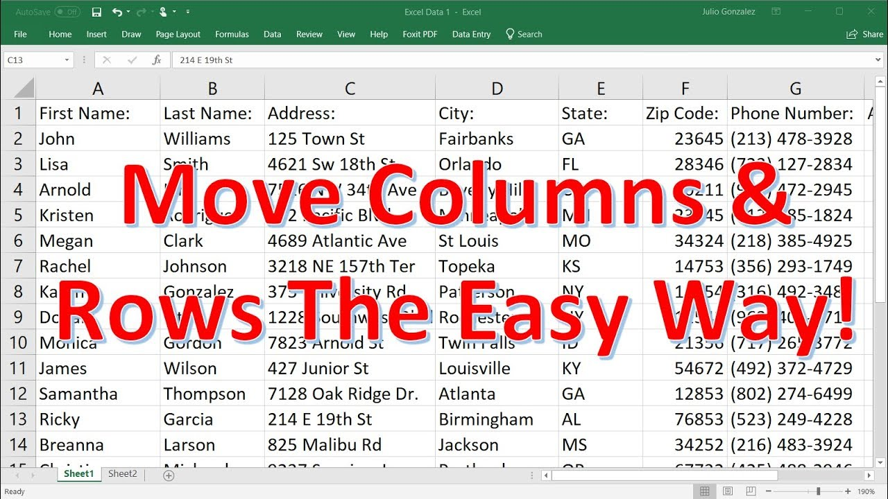 How To Move Multiple Rows and Columns In Excel - The Easy Way!