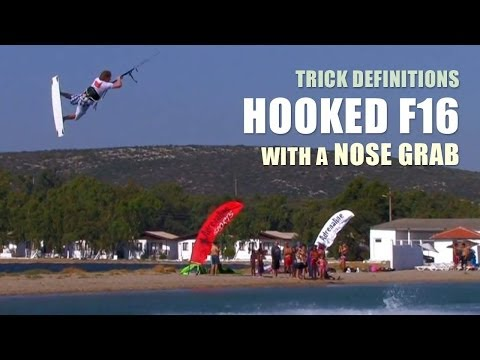 Hooked F16 with an Nose Grab - Kitesurfing Trick Definition