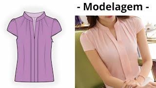 Modelagem Blusa com pregas e gola (Viviane Prates)