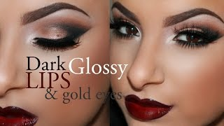 Dark Glossy Lips & Gold Eyes Tutorial | Makeup By Leyla