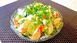 Салат из крабовых палочек с огурцами  Вкусный, легкий салатик!