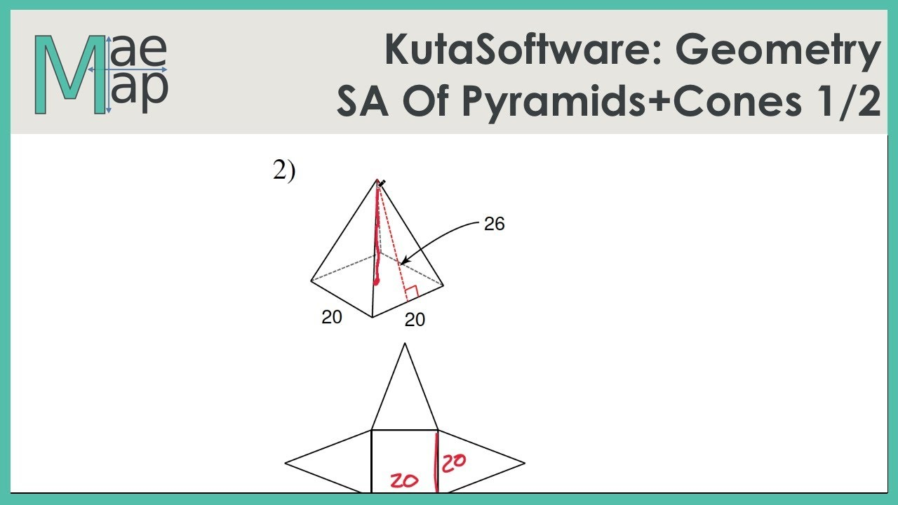 KutaSoftware: Geometry- Surface Area Of Pyramids And Cones Part 1
