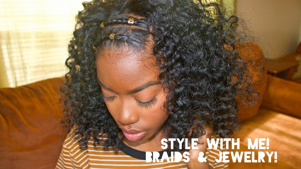 Natural Hair - Style With Me! (Braids & Jewelry) - YouTube