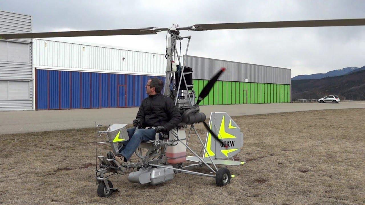 Gyrocopter essais statique nouveau prélanceur, new prerotator