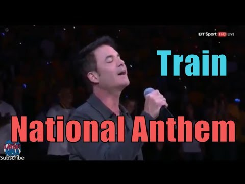 Pat Monahan from Train sings the National Anthem at Game 1 of the NBA Finals - Cavaliers vs Warriors