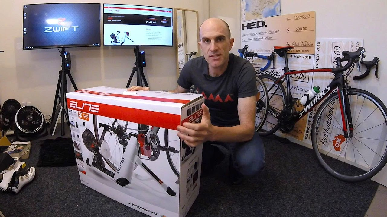 Elite Rampa Smart Trainer Unboxing Building First Ride Youtube