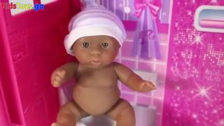 Toys R-US - Tiny Twins Baby Dolls Eating Food Potty Training Barbie Toilet Unboxing Videos - Baby
