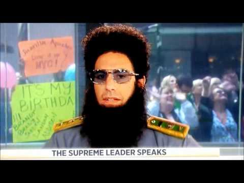 The Dictator Sacha Baron Cohen threatens Matt Lauer's family on Today