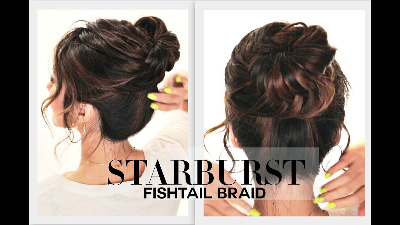starburst fishtail braid bun hairstyle
