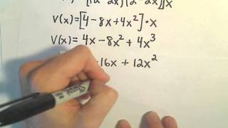 Optimization Problem #5 - Max Volume of a Box Made From Square of Material